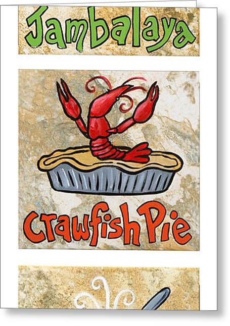 Gumbo Greeting Cards - Cajun Trio White Greeting Card by Elaine Hodges