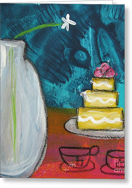 Flower Still Life Mixed Media Greeting Cards - Cake and Tea For Two Greeting Card by Linda Woods
