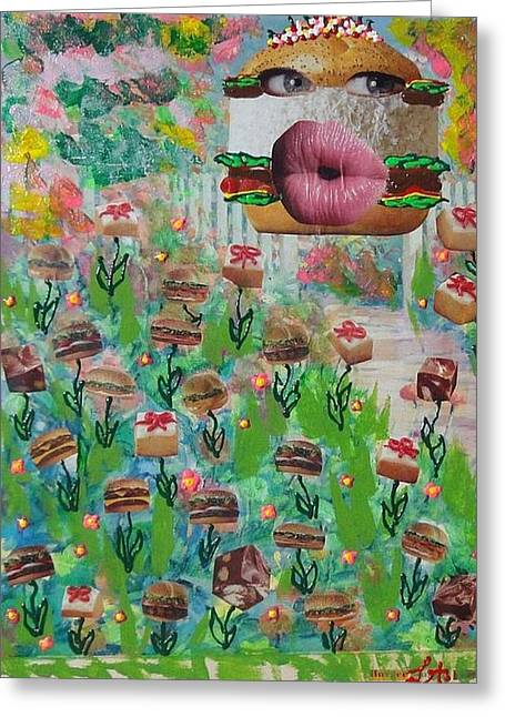 Lettuce Mixed Media Greeting Cards - Cake Burger Greeting Card by Lisa Piper Menkin Stegeman