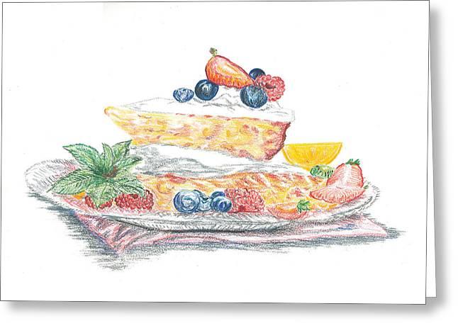 Raspberry Drawings Greeting Cards - Cake Greeting Card by Chu-Hua Mou