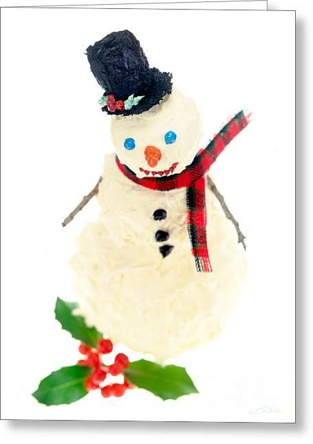 Cake Snowman Greeting Card by Iris Richardson