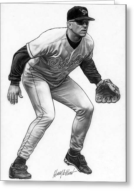 Photo Realism Drawings Greeting Cards - Cal Ripken Greeting Card by Harry West