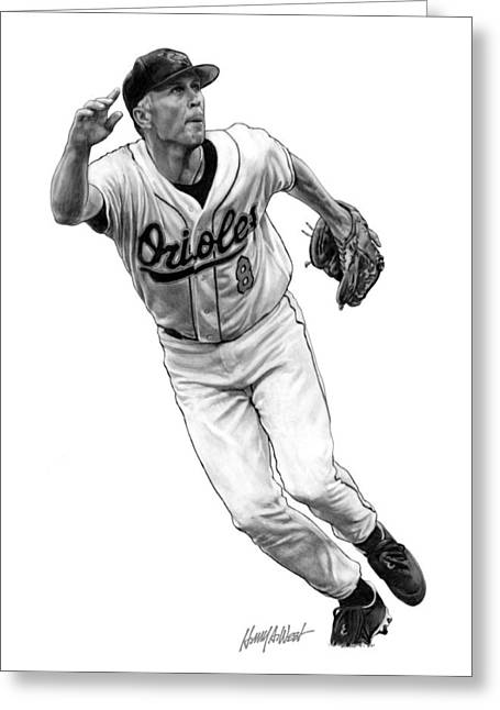Baseball Art Greeting Cards - Cal Ripken Jr I Greeting Card by Harry West