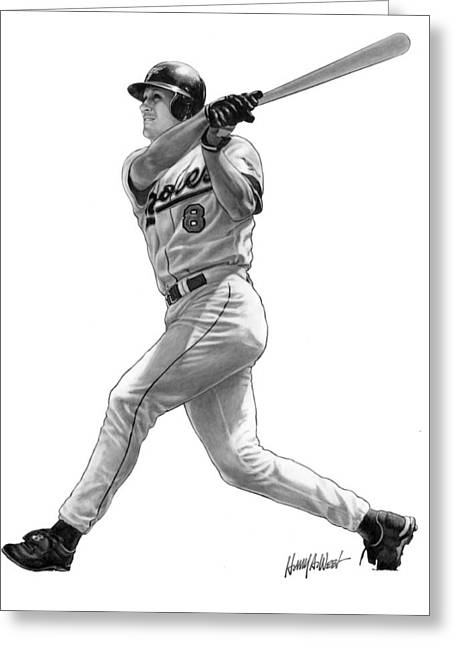 Baseball Art Greeting Cards - Cal Ripken Jr II Greeting Card by Harry West