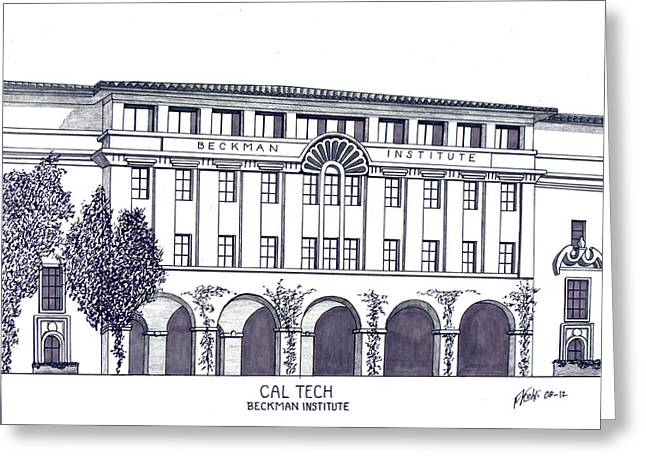 Technical Mixed Media Greeting Cards - Cal Tech Beckman Greeting Card by Frederic Kohli