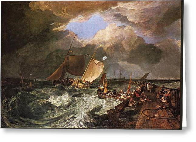 Painter Of Light Greeting Cards - Calais Pier with French Poissards Preparing for Sea An English Packet Arriving 1803 Greeting Card by J M W Turner