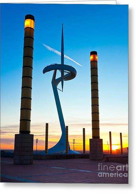 Informatics Greeting Cards - Calatrava Tower - Barcelona Greeting Card by Luciano Mortula