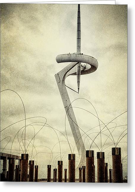 White City Park Greeting Cards - Calatrava Tower Greeting Card by Joan Carroll