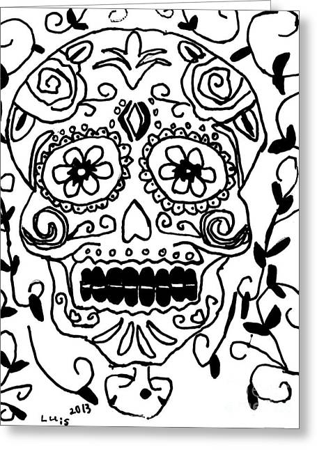 Savant Paintings Greeting Cards - Calavera  Greeting Card by Epic Luis Art