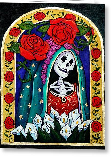 Dia De Los Muertos Art Greeting Cards - Calavera Guadalupe Greeting Card by Candy Mayer