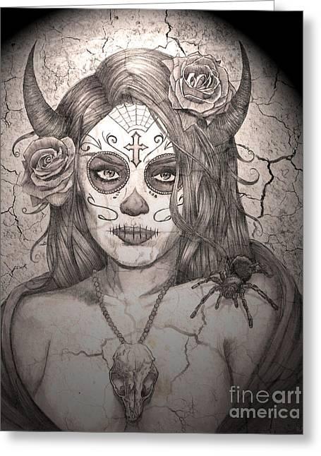 Love The Animal Drawings Greeting Cards - Calavera Queen of the Sugar Skulls Greeting Card by Ryan May