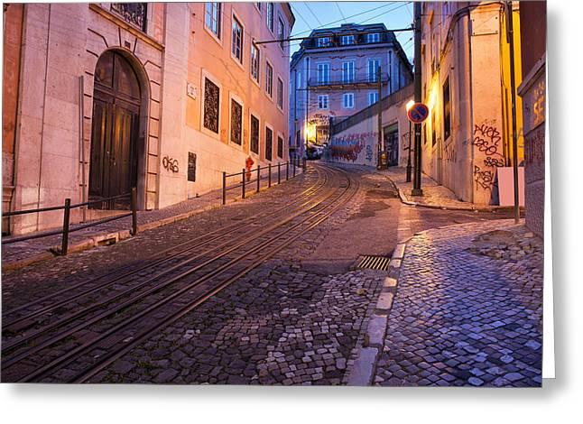 Funicular Greeting Cards - Calcada da Gloria Street at Dusk in Lisbon Greeting Card by Artur Bogacki