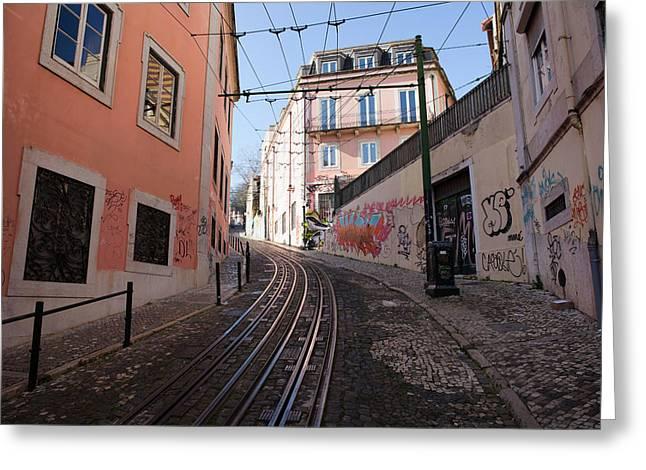 Funicular Greeting Cards - Calcada da Gloria Street in Lisbon Greeting Card by Artur Bogacki