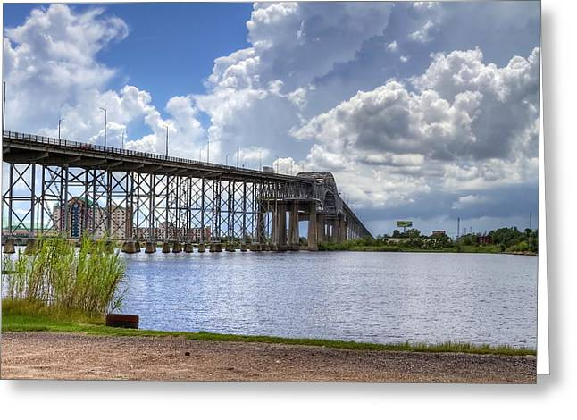 Calcasieu River Greeting Cards - Calcasieu River Bridge Greeting Card by David Byron Keener