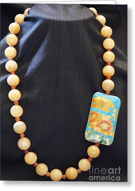 Natural Jewelry Greeting Cards - Calcite and Red Aventurine Necklace Greeting Card by Megan Cohen