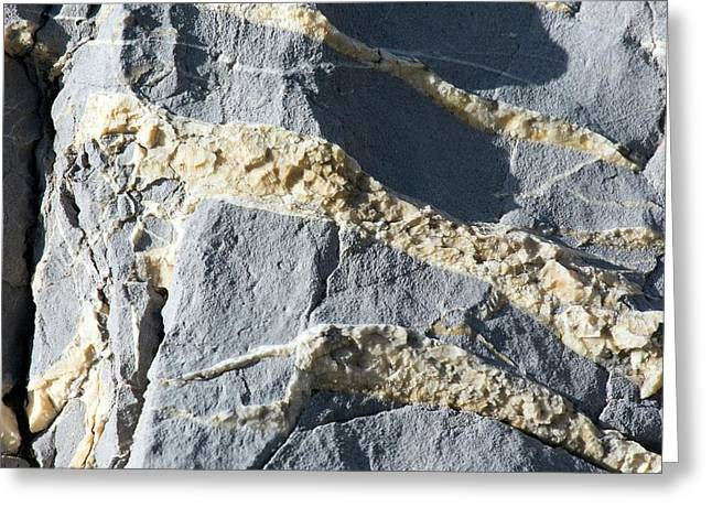 Calcite Crystals In Joints Greeting Card by Dr Juerg Alean