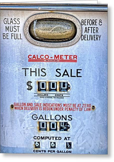 Motor Meter Greeting Cards - Calco Meter Vintage Gas Pump Greeting Card by Leah McDaniel