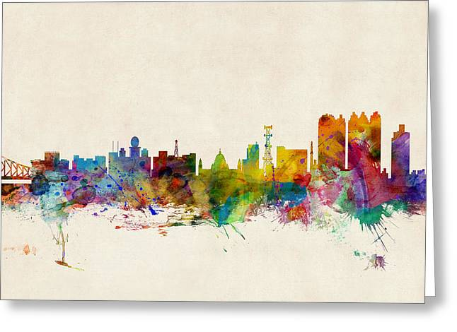 West Indian Greeting Cards - Calcutta India Skyline Greeting Card by Michael Tompsett