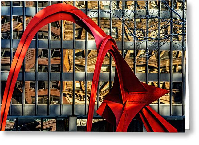 Alexander Calder Greeting Cards - Calder Sculpture called the Flamingo in Downtown Chicago Greeting Card by Randall Nyhof