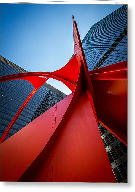 Calder's Flamingo At Federal Plaza Greeting Card by Mike Burgquist