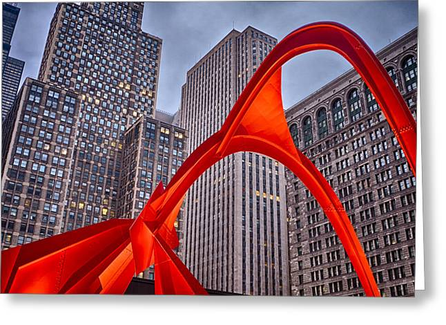 Alexander Calder Greeting Cards - Calders Flamingo in Chicago Greeting Card by Lindley Johnson