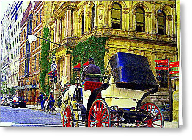 Caleche Ride By The Hotel Le St James Vieux Port Montreal Old World Charm And Elegance C Spandau Art Greeting Card by Carole Spandau