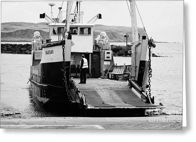 Lifeline Greeting Cards - Caledonian MacBrayne MV Canna ferry with vehicle boarding ramp lowered Rathlin Island pier harbour n Greeting Card by Joe Fox
