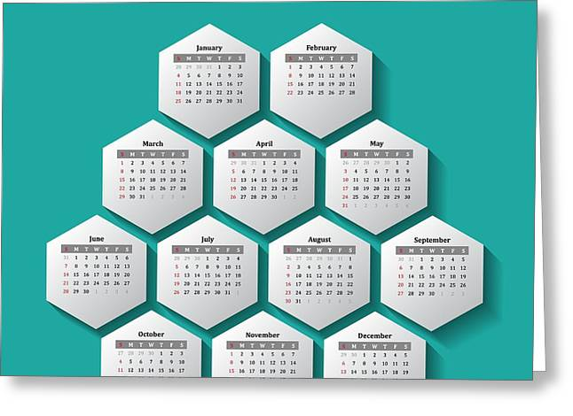 Monthly Calendars Greeting Cards - Calendar 2015 Greeting Card by Stockimage Folio