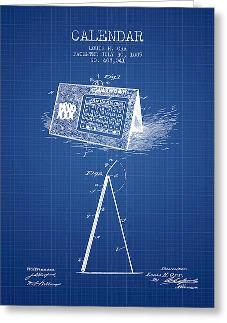 Wall Calendars Greeting Cards - Calendar Patent from 1889 - Blueprint Greeting Card by Aged Pixel
