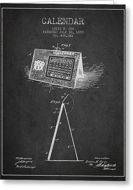 Calendar Patent From 1889 - Charcoal Greeting Card by Aged Pixel