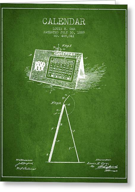 Wall Calendars Greeting Cards - Calendar Patent from 1889 - Green Greeting Card by Aged Pixel