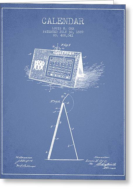 Calendar Patent From 1889 - Light Blue Greeting Card by Aged Pixel