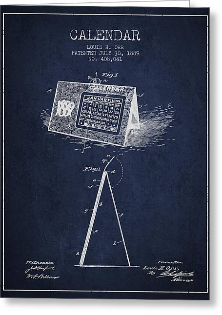 Calendar Patent From 1889 - Navy Blue Greeting Card by Aged Pixel