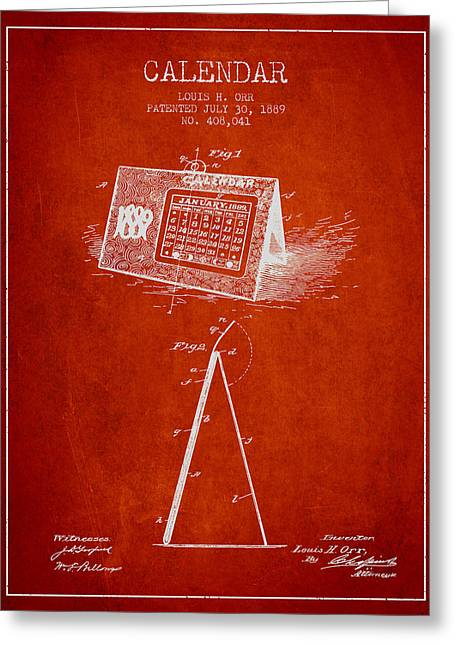 Calendar Patent From 1889 - Red Greeting Card by Aged Pixel