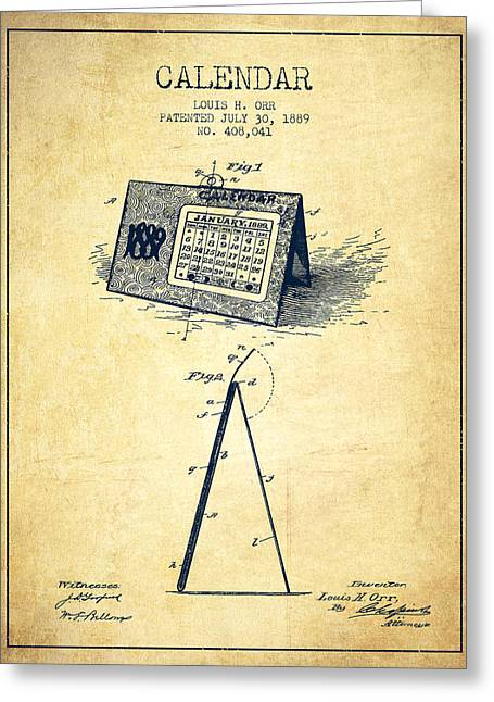 Calendar Patent From 1889 - Vintage Greeting Card by Aged Pixel