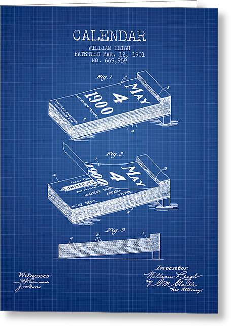 Calendar Greeting Cards - Calendar Patent from 1901 - Blueprint Greeting Card by Aged Pixel