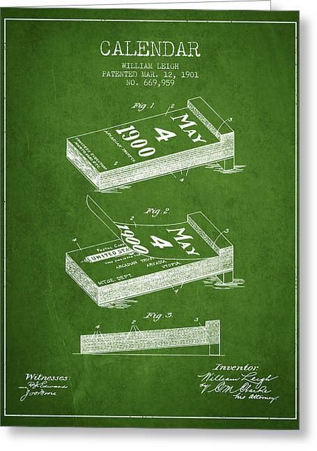 Calendar Greeting Cards - Calendar Patent from 1901 - Green Greeting Card by Aged Pixel