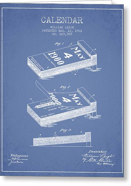Calendar Greeting Cards - Calendar Patent from 1901 - Light Blue Greeting Card by Aged Pixel