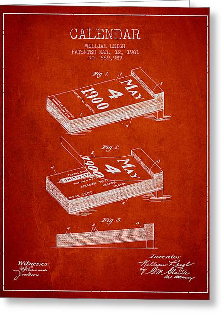 Calendar Greeting Cards - Calendar Patent from 1901 - Red Greeting Card by Aged Pixel