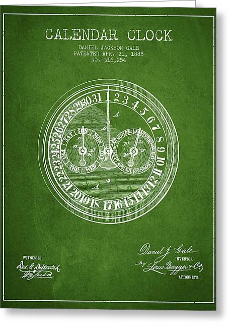 Calendar Greeting Cards - Calender Clock patent from 1885 - Green Greeting Card by Aged Pixel