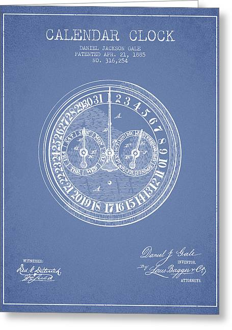 Calendar Greeting Cards - Calender Clock patent from 1885 - Light Blue Greeting Card by Aged Pixel
