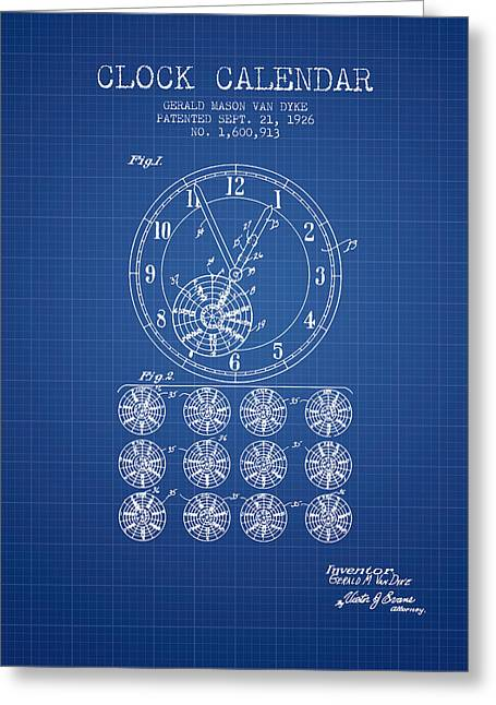 Wall Calendars Greeting Cards - Calender Clock patent from 1926 - Blueprint Greeting Card by Aged Pixel