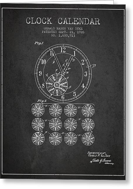 Wall Calendars Greeting Cards - Calender Clock patent from 1926 - Charcoal Greeting Card by Aged Pixel