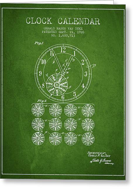 Wall Calendars Greeting Cards - Calender Clock patent from 1926 - Green Greeting Card by Aged Pixel
