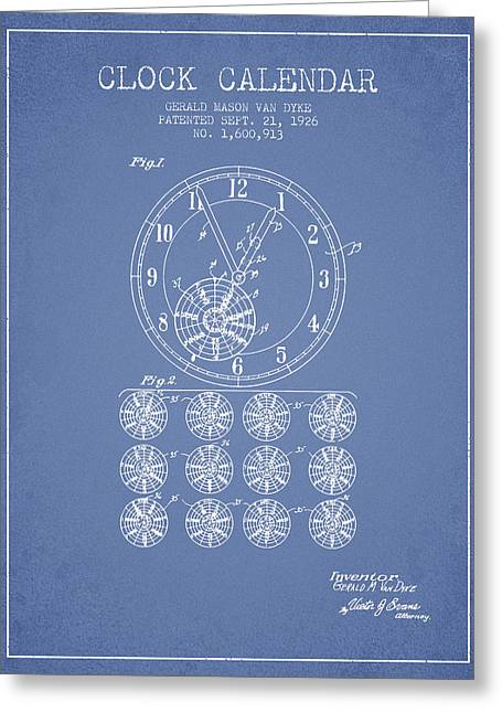 Wall Calendars Greeting Cards - Calender Clock patent from 1926 - Light Blue Greeting Card by Aged Pixel