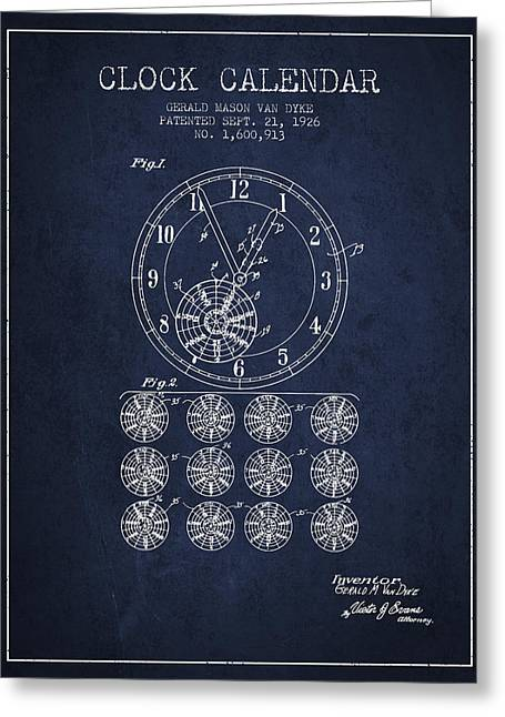 Wall Calendars Greeting Cards - Calender Clock patent from 1926 - Navy Blue Greeting Card by Aged Pixel