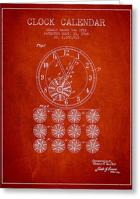 Wall Calendars Greeting Cards - Calender Clock patent from 1926 - Red Greeting Card by Aged Pixel