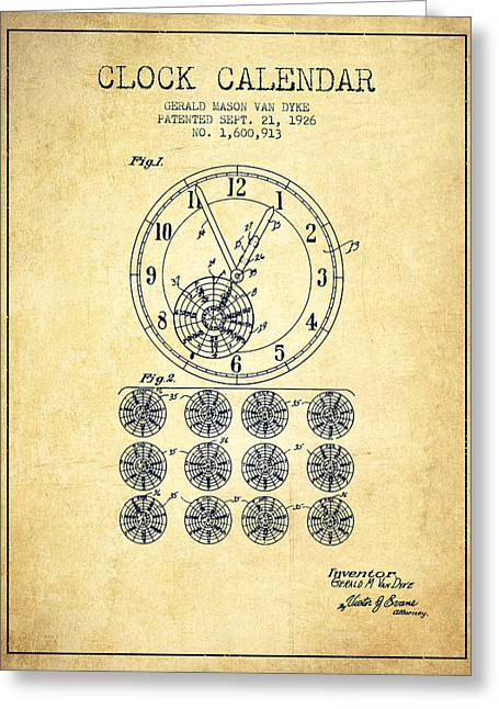 Calender Clock Patent From 1926 - Vintage Greeting Card by Aged Pixel