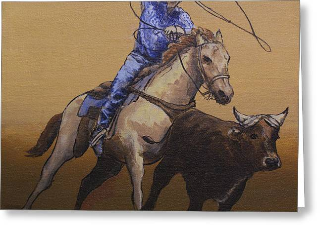 Dogie Greeting Cards - Calf Ropin Cowboy Greeting Card by Michael Beckett