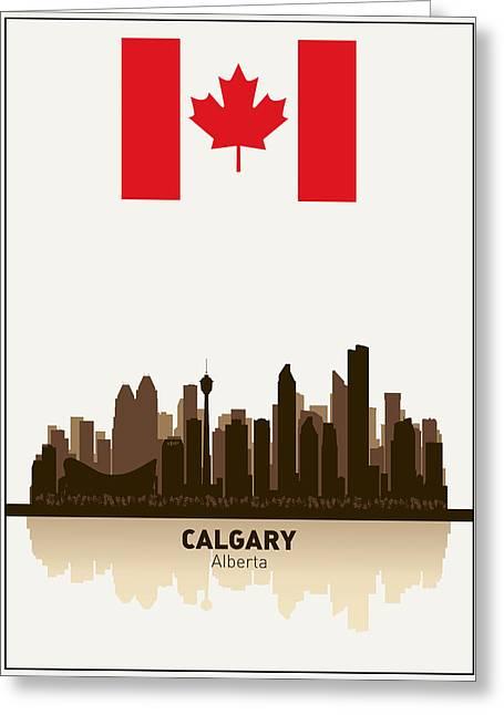 Alberta Posters Greeting Cards - Calgary Alberta  Canada Greeting Card by Daniel Hagerman